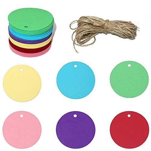 120 Stück Bunt Runden Geschenkanhänger, 5.5CM Kraftpapier Anhänger Etiketten, 6 Farben Anhängeschilder Eintrittskarten für Hochzeit Party