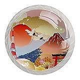 Japón Mount Fuji Temple Cherry Crystal Cabinet Knob 4 unidades de pomos redondos para cajones de armario armario de cristal de cristal, tiradores para cocina, baño, 1.18 pulgadas