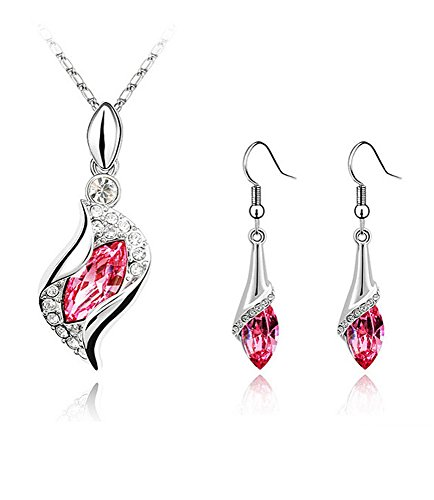 Celebrity Jewellery Oro Bianco KC Placcato Angelo Crystal Rose Red Eye Austriaco Collana Orecchini Set
