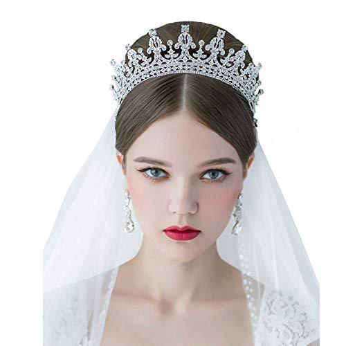 SWEETV Royal Wedding Crown CZ Crystal Pageant Birthday Tiara Bridal Headpiece Women Princess Hair Jewelry, Silver+Clear