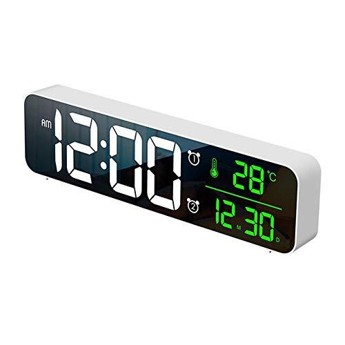 Osairous Réveil numérique avec USB, Horloge de Bureau avec 2 alarmes, LED Affichage 12 / 24H, 4 Niveaux de Volume et 5 Niveaux de luminosité, 40 sonneries, Réveil Miroir