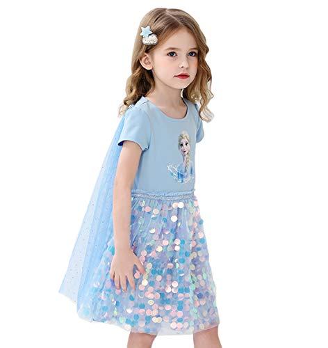 Fancyland ELSA Kleider Glanz Sommer-Kleid Kurzarm Frozen 2 Eiskönigin 2 Prinzessin Eisprinzessin Kostüm mit Cape Mädchen Kinder (Blau, Körpergröße 120cm)