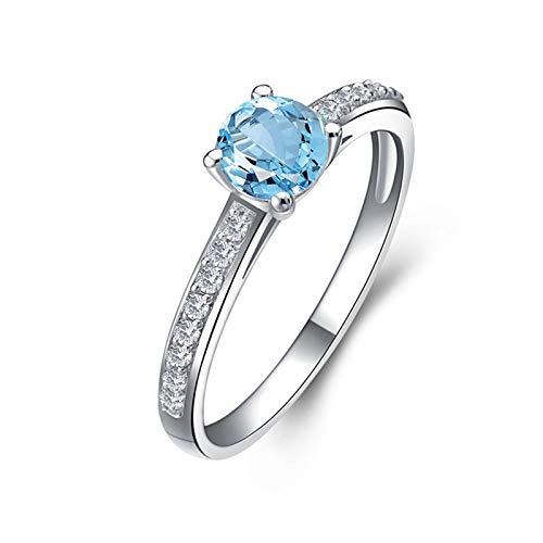 AnazoZ Anillos de Compromiso Mujer,Anillo de Plata Mujer 925 Redondo 5.25MM Topacio Azul Blanco Anillos Plata Piedra Azul Talla 25