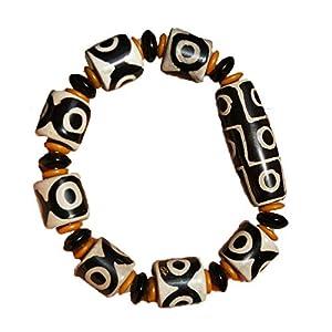 ZHIBO Tibetischen dzi perlen-Armband Old Agate 9 Eye Totem amulett elastisches Seil Hand String