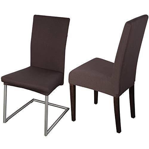 Staboos Stuhlhussen 2er Set aus 96% Baumwolle - Bi-elastische Stretch Stuhlüberzüge - Universal Stuhlbezug - Stuhlabdeckung waschbar & bügelfrei, Dunkelbraun