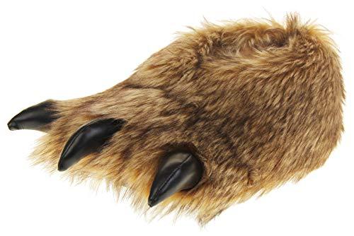 Dunlop, Pantofole da uomo in finta pelliccia con artigli, motivo: bulldog, Marrone (Artiglio marrone.), 44/45 EU