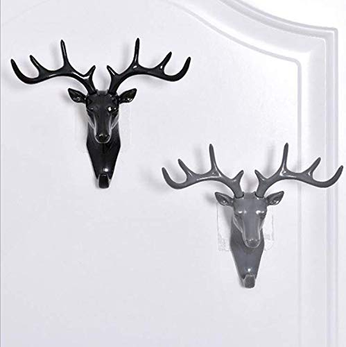 Maydahui 3PCS Deer Head Wall Hook Antler Hanger Animal Shaped Key Coat Hat Hooks Home Decoration Wallhook Black White Grey Heavy Duty for Living Room Bedroom Bathroom