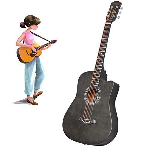 YJFENG-Gitarren, 38 Zoll Geschnittene Ecke Starter-kit Schöner Und Runder Klang Geschnitztes Design Anfänger Schülerin Gitarren Starter Pack (Color : Gray, Size : 96cm)
