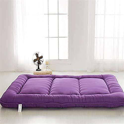 dongyu Alfombrilla de futón japonesa para dormir, para cama enrollable, tamaño completo (tamaño: 100 x 200 cm, color: morado)