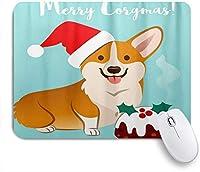 MISCERY マウスパッド クリスマスコーギー犬サンタ帽子フルーツケーキ 高級感 おしゃれ 防水 端ステッチ 耐久性が良い 滑らかな表面 滑り止めゴム底 24cmx20cm