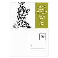 中華竜鳥動物の抽象的な 詩のポストカードセットサンクスカード郵送側20個