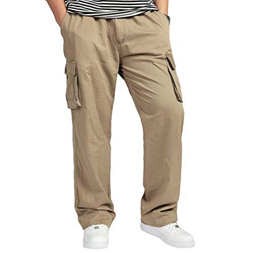 Pantalones De Los Deportes del Cargo De Los Hombres con Los Pantalones Anchos Elásticos del Gran Tamaño con El Bolsillo Amarillo XL