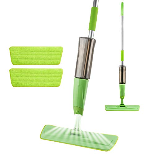 Moppson Spray Mops for Floor Cleaning, Dry Wet Microfiber Floor Mop with 600ml Water Tank and 2 Washable Mop Pads, Flat Mop for Home Kitchen Laminate Wood Ceramic Tiles Hardwood Floors-Green
