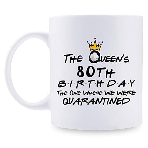 aiyaya 80th Quarantine Birthday Gifts for Women - The Queen's 80th Birthday Quarantine Mug - 80 Year Old Present Ideas for Wife, Mom, Daughter, Sister, Grandma, Friend, Colleague - 11 oz Coffee Mug