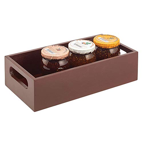 mDesign Bamboo Wood Compact Food Storage Bin with Handles for Kitchen Cabinet, Pantry, Shelf to Organize Seasoning Packets, Powder Mixes, Spices, Packaged Snacks - Espresso Brown