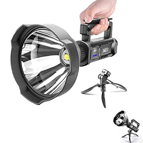 Rechargeable Spotlight Flashlight - 90000 Lumen LED Super Bright Searchlight, IPX5 Waterproof 4 Modes Handheld Spotlight, with Tripod and USB Output, for Hiking, Camping, Hunting and Emergencies