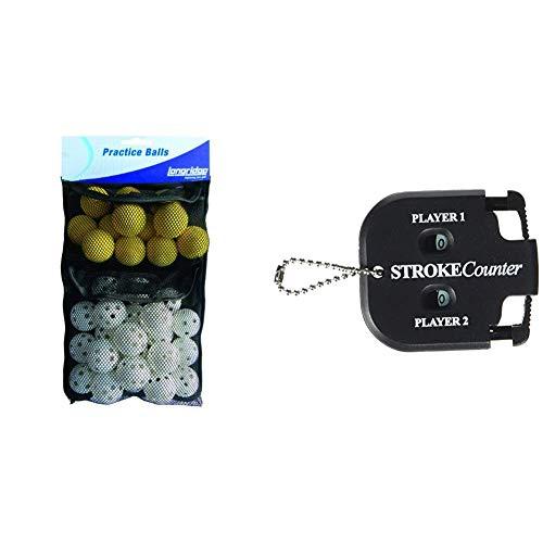 LONGRIDGE Golf Trainingsbälle, 32er Pack & Golf Zubehör 2 Spieler Schlagzähler, Schwarz