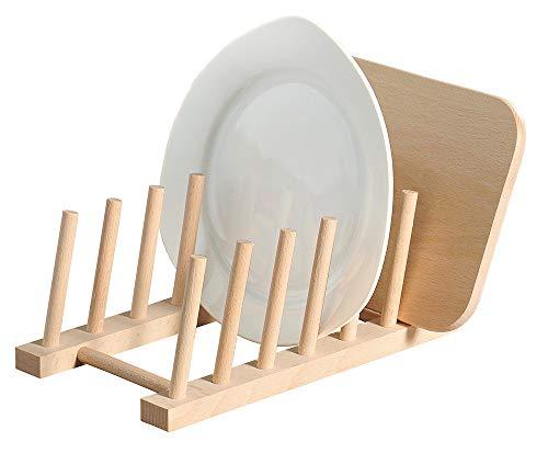 Kesper 6 Teller/Brettchen Tellerständer, Holz, beige, 25 x 14 x 8 cm