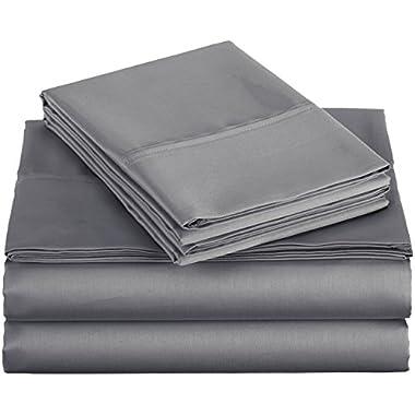 AmazonBasics 400 Thread Count Sheet Set, 100% Cotton, Sateen Finish - Full, Dark Gray
