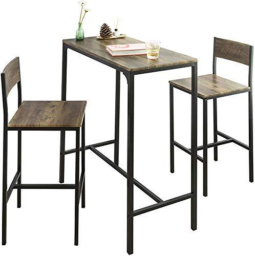 Barra de estilo industrial y 2 sillas de silla Bar Bar Taburete Casas de comedor Silla de comedor Bar Set Ultimate Mesa,Deep wood pattern
