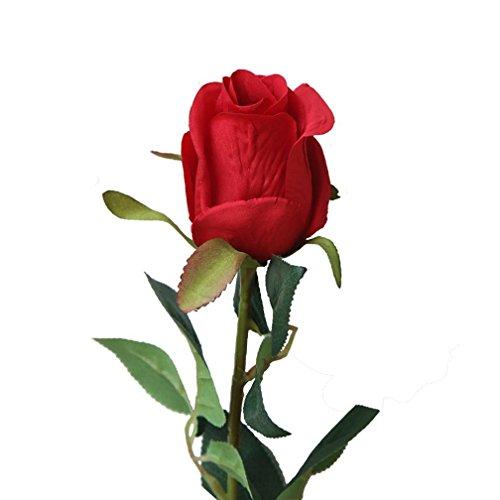 Hunpta Bouquet de roses artificielles pour mariage, fête, décoration d'intérieur (Rouge)