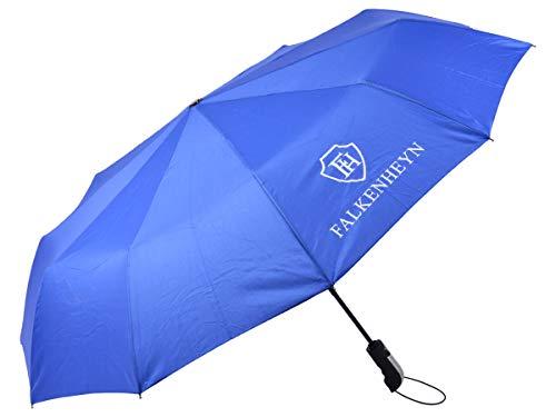 Falkenheyn Regenschirm Sturmfest Taschenschirm mit voll-automatischer Auf Zu Automatik Windfest (REG-01 blau)