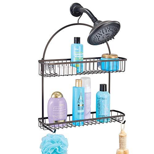 mDesign - Doucherek - organizer - voor het opbergen van shampoo, zeep, scheermesjes en meer - met douchemandjes en haken/hangend - brons