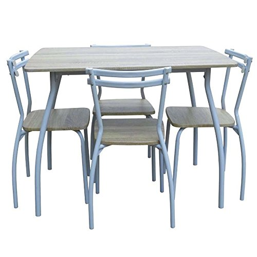 Abitti Conjunto de Mesa + 4 sillas para Comedor o Salon Color Blanco y Taupe, Resistente Estructura metalica
