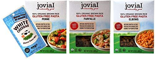 Jovial Organic Gluten-Free Brown Rice Pasta 3 Shape Variety Bundle, 1 each: Farfalle, Elbows, Penne (12 Ounces) Plus Riega White Cheddar Cheese Sauce Mix