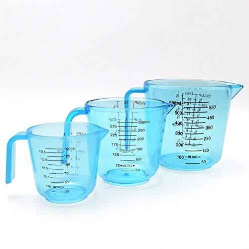 Set di 3 utensili da forno in plastica trasparente, misura grande, con scala blu