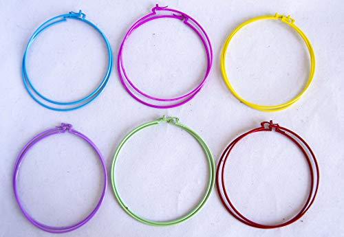 Pendientes de aro grandes de 8cm de colores surtidos. Envío GRATIS 72h (Pack 6 colores)