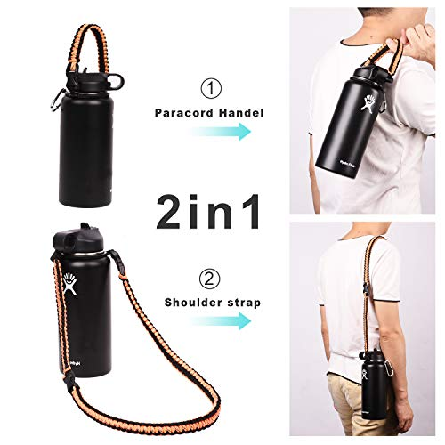 Wongeto Paracord Handle Carrier Holder with Shoulder Strap(Fits 12oz - 64oz Hydro Flask Wide Mouth Water Bottles, Nalgene,Nathan,Klean Kanteen, Juglug,etc) (Orange)
