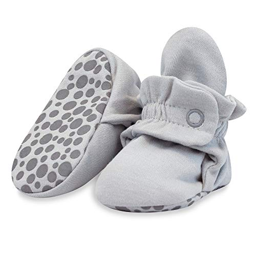 Zutano Organic Cotton Baby Booties with Gripper Soles, Soft Sole Stay-On Baby Shoes, Light Gray Solid, 6M