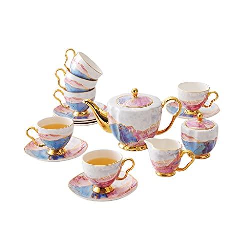 SHYPT Hueso China Café de café Conjunto de té de la Tarde Tazas de café Tazas de café y platillo Pote de azúcar Tazón de azúcar Jarra de Leche