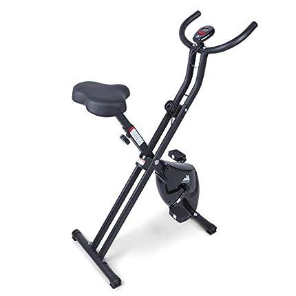 EVOLAND Bicicleta Estática Plegable, Bicicleta de Entrenamiento de Fitness 8 Niveles Resistencia Ajustable con Monitor Rítmo Cardíaco y 2 Bandas Elásticas para Ejercicio Entrenamiento en Casa(Rojo)