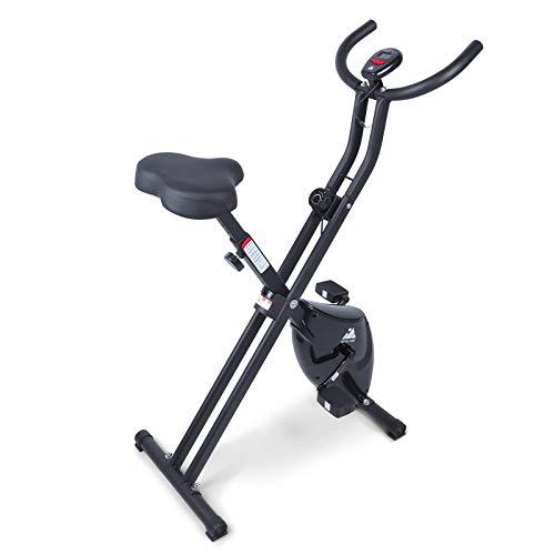 EVOLAND Bicicleta Estática Plegable, Bicicleta Estática de Fitness Multinivel de Resistencia Magnética con Monitor Rítmo Cardíaco para Ejercicio Entrenamiento en Casa, MAX hasta 120 kg(Negro-Sencillo)