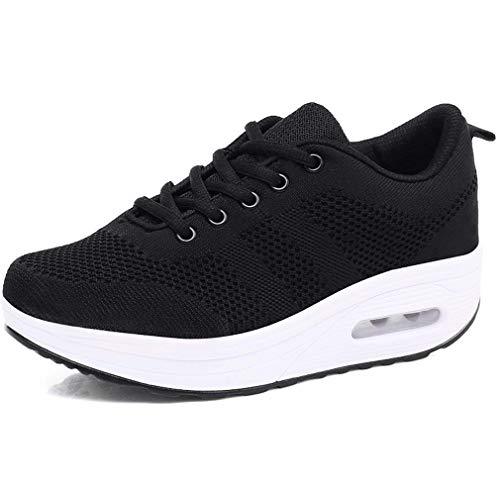 Mujer Zapatillas de Deporte Malla Air Cuña Cómodos Sneakers Mujer Casual Running Senderismo Ligero Mesh Zapatillas Gris Negro 35-41