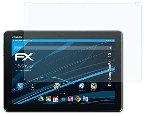 atFolix Schutzfolie kompatibel mit Asus ZenPad 10 Folie, ultraklare FX Bildschirmschutzfolie (2X)