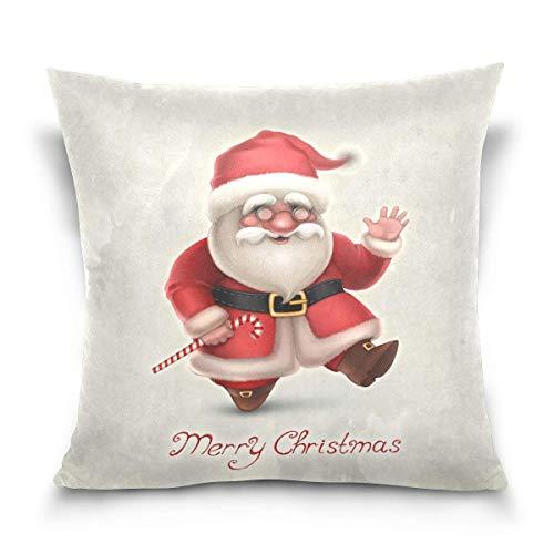 Hancal Kissenbezug dekorative Kissen quadratische Kissenbezug, Frohe Weihnachten Santa Claus mit Candy Schlafsofa Kissenbezug Twin Sides