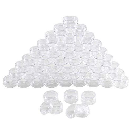 Delisouls Vide Cosmétique Pots, 100 Pièces 5ml Transparent Plastique Pot Bocaux, Poudre Fard à Paupières Récipients Échantillon Récipient Mini Bouteille pour Échantillonnage Stockage