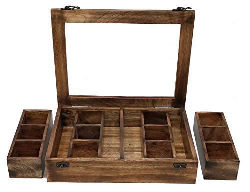 Galaxy Indiacraft Mehrzweck-Gewürzbox aus Holz   herausnehmbare Behälter   Gläser Cum Kitchen und Dry Fruit Box mit Löffel (4 verschiedene Fächer)