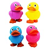Jumbo Rubber Duck Toy With Flippers, Squeeze To Squeak N' Quack, Giant Rubber Duckies for Kids, Bath, Baby Shower, Birthday, Pool Activity, Party Favors, 6.5' Tall (4-Pack (All 4 Colors))