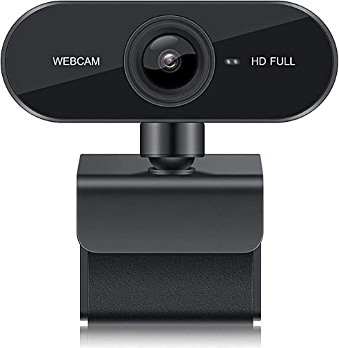 1080P Webcam with Microphone, 90-Degree Wide Angle HD Web Camera, 360-Degree Rotatable Base Protects Privacy, Clear Stereo Audio Plug & Play Desktop Laptop USB Camera for Video Calling Online Class