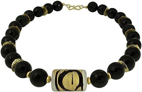 Collar de cristal de Murano de ónice negro, cadena de cristal de ótalia de diseño de joyas de oro chapado en oro piedras preciosas hechas a mano cadena de diseño