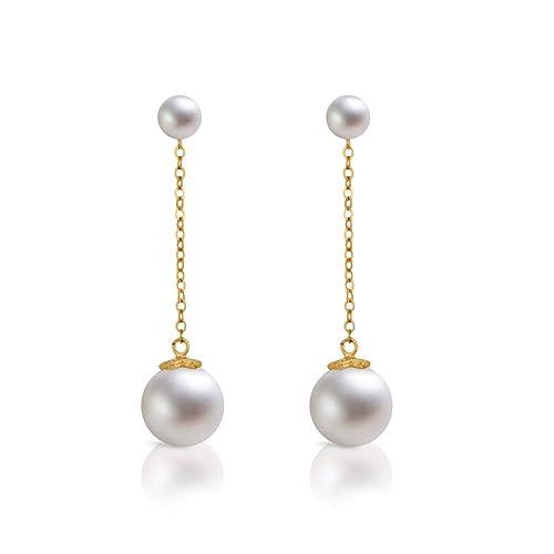 Gold drop bar tassel end dangle drop earrings tassel earrings faux pearl stud
