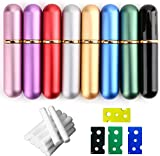 Bekith Set of 8 Colors Empty Essential Oil Personal Inhaler Refillable Aluminum and Glass - Nasal Inhalers Set with 20 Cotton Wicks and 4 Opening Tool