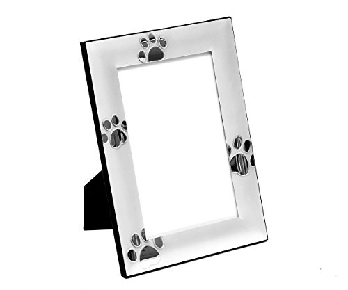 Brillibrum Design Bilderrahmen Pfotenabdrücke 10x15cm Foto-Rahmen Versilbert Hunde-Pfoten Matt Geschenk Katzen-Tapsen (Variante 1, Ohne Gravur)