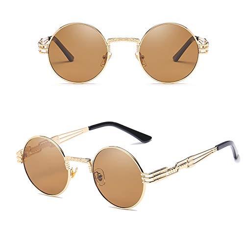 APCHY Gafas De Sol Redondas Pequeñas De Moda para Hombres Y Mujeres UV400 Marco De Metal Gafas Retro Estilo Hippie De John Lennon,L