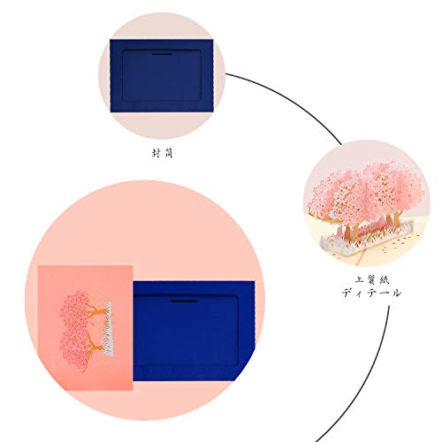 桜のグリーティングカードメッセージカード誕生日カードポップアップカード感謝状飛び出す封筒付き
