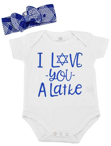 Unique Baby Girls I Love You Latke Hanukkah Layette Outfit Headband (6 Months)